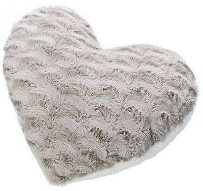 """Avon heart shape cushion approx 12"""" x 14"""" mink and cream faux fur BNIB"""