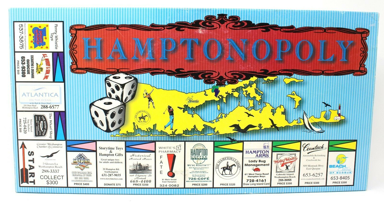 Hamptonopoly Monopoly Style Board Game Complete - The Hamptons, New York, NY