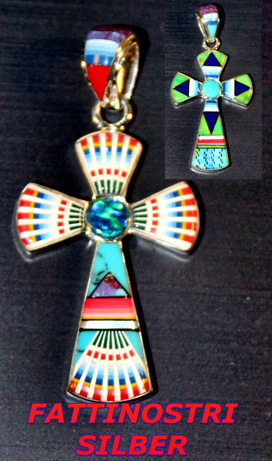 Indiani Gioielli Ciondolo Croce argentoo argentoo argentoo Gioielli in puro argentoo gioielli intarsio pezzo unico b2f05f