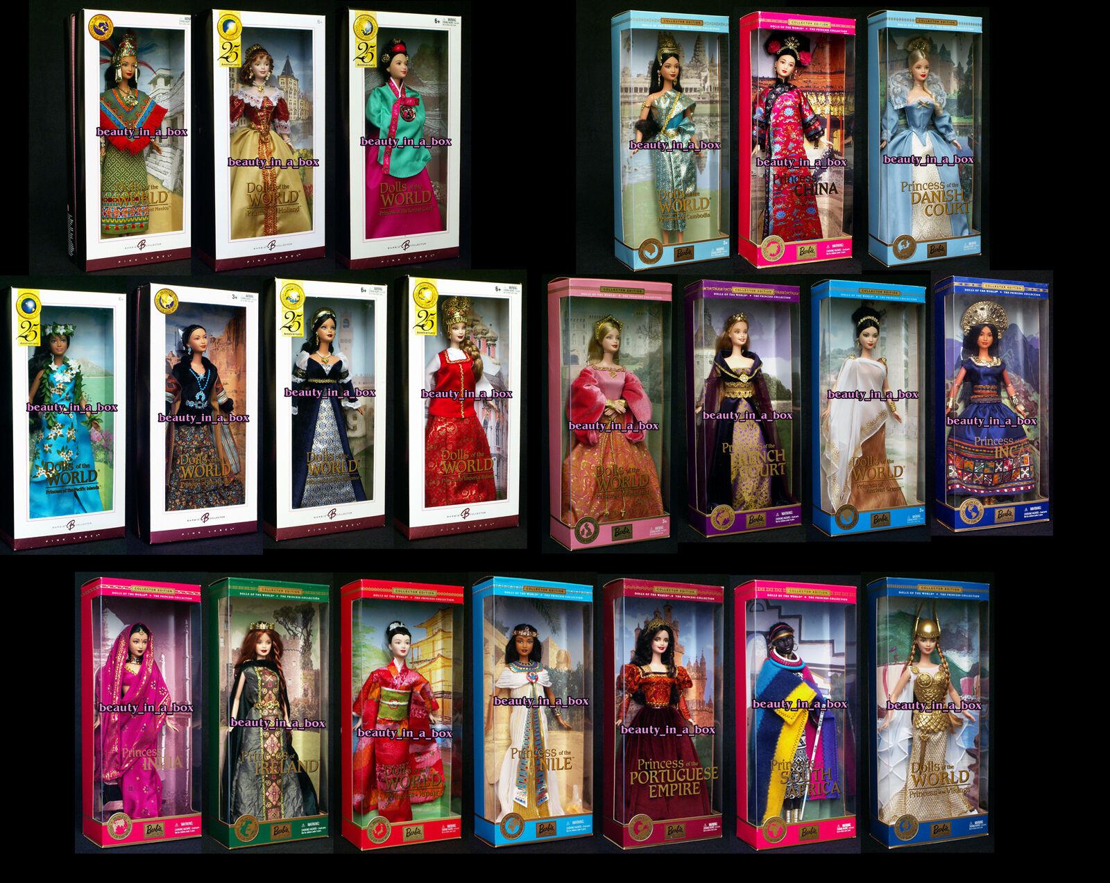 Princess Muñecas del mundo India francés Tribunal incas Nilo Grecia Barbie Lote 21