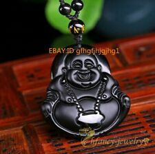 Natural Black Obsidian Hand-Carved Lucky Buddha Amulet Pendant Beads Necklace ♫
