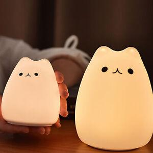 Details zu 7 Farben Katze LED Touch Sensor Licht Nette Nachtlampe Kinder  Schlafzimmer
