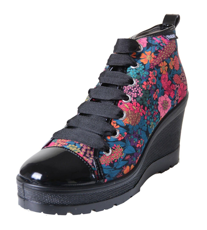 Break & Caminar Zapatillas Con Tacón de cuña y Negro Plataforma estampado flores