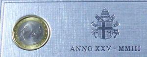 TRES RARE 1 €uro OFFICIEL DU COFFRET VATICAN 2003  JEAN PAUL II UNC
