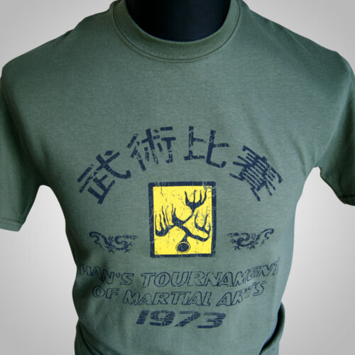 Enter the Dragon Hans Tournament Retro Movie T Shirt Bruce Lee MMA Green Kung Fu