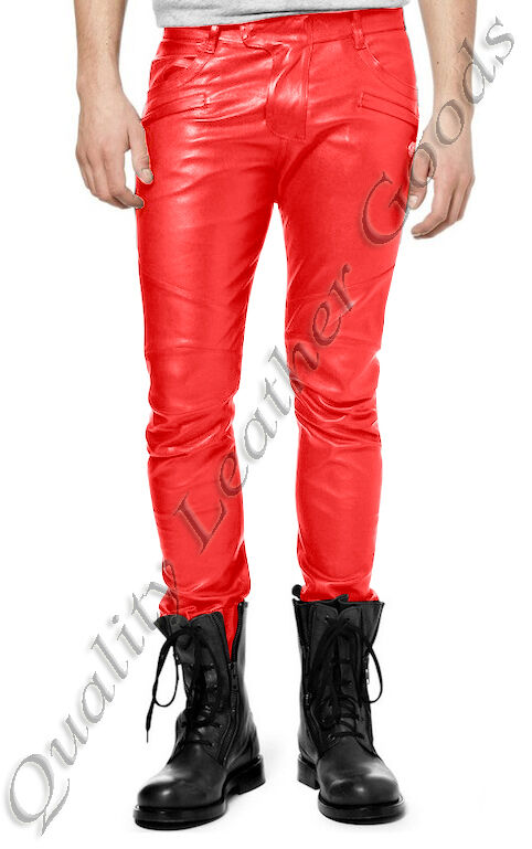 MENS  SYNTHETIC LEATHER JEANS THIGH FIT LUXURY PANTS TROUSERS IN RED CS 41