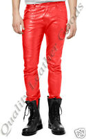 MENS PREMIUM SYNTHETIC LEATHER JEANS THIGH FIT LUXURY PANTS TROUSERS IN RED