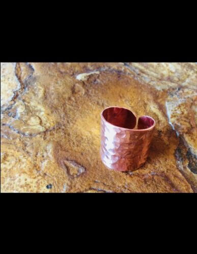 Handmade Hammered Rustic Copper Wide Cigar Band Ring Sz 10