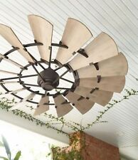 Quorum 197215-86 Windmill Ceiling Fan in Oiled Bronze with UL Damp Blades
