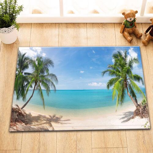 tropical beach coconut palm Bathroom Shower Curtain 12 Hooks Waterproof Fabric