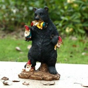 Gnomes-in-Trouble-With-Bear-Statue-Life-Like-Figurine-Cute-Home-Garden-New