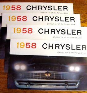 1958-Chrysler-Brochure-LOT-4-pcs-Windsor-Saratoga-New-Yorker-MINT