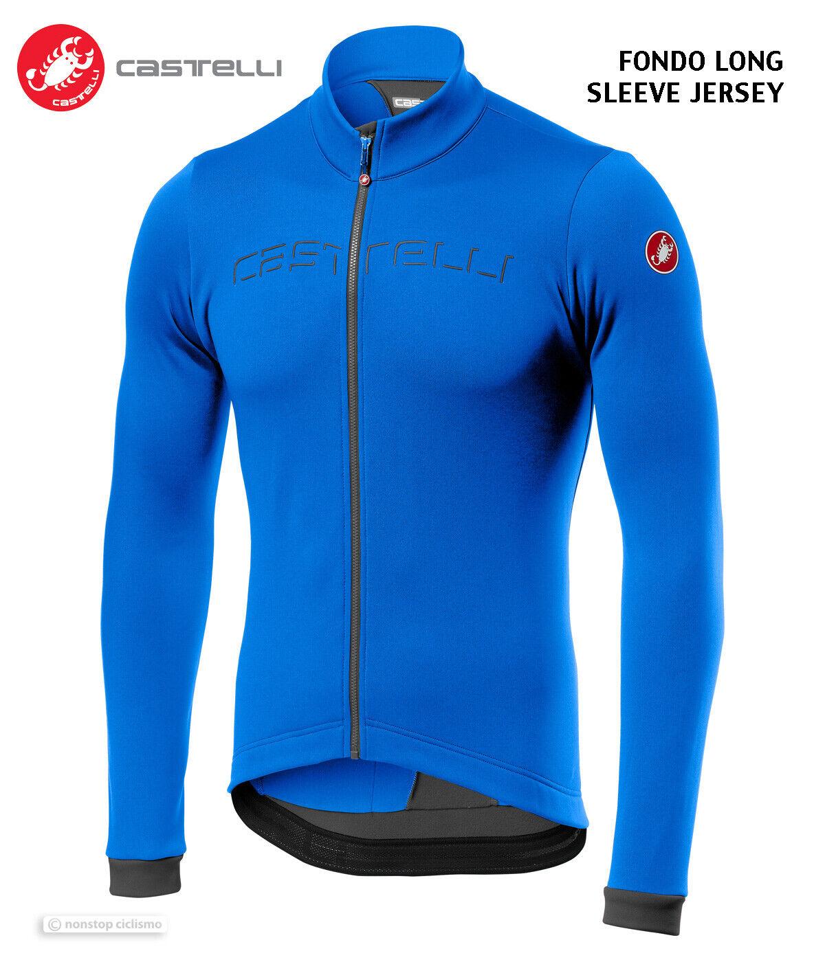 NEW Castelli FONDO Thermal Long Sleeve Cycling Jersey : DRIVE BLUE/DARK GREY