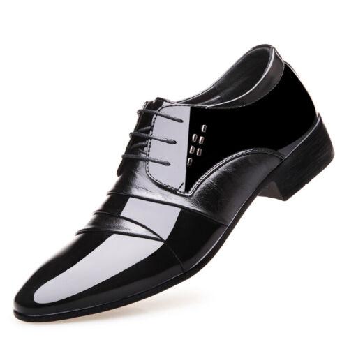 Chic Men/'s British Loisirs Chaussures en Cuir à Lacets Flats Respirant Brillant Business