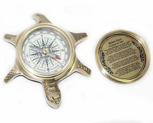 New-Vintage-Brass-Made-Tortoise-Shape-Compass-Nautical-Collectables