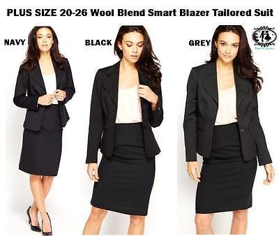 Details about LADIES PLUS SIZE 20 26 BLAZER TAILORED SUIT BLACK GREY BLUE SMART WORK JACKET