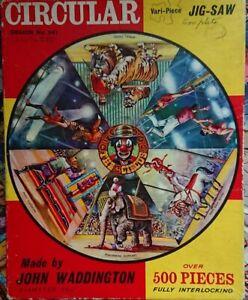 Vintage-Waddingtons-circular-500-piezas-circo-Rompecabezas-dos-piezas-que-faltan