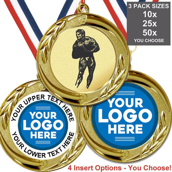Culturismo hombre Medallas De Metal Grande 70 mm, paquete de 10 cintas Insertos propio logotipo