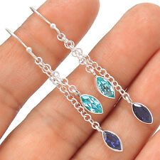 Blue Topaz & Iolite 925 Sterling Silver Earrings Jewelry EE24705