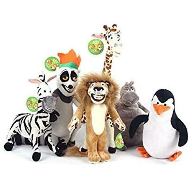 6PC  Set Madagaskar Plush Leksaker Gloria Penguin Mkonsty Melman Julien Fylld docka