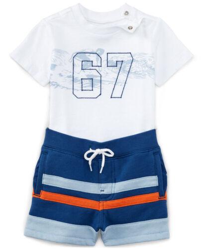NWT Ralph Lauren Baby Boys Graphic T Shirt /& Striped Shorts Set