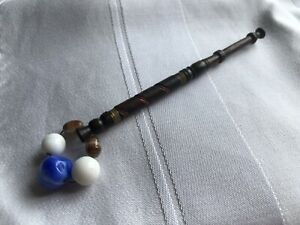Lace-Bobbin-Wooden-Blue-White-Glass-Beaded-Spangle-Wire-Spiral