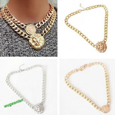 Stylish Lion Queen Head Pendant Gold Flat Chain Statement Choker Chunky Necklace