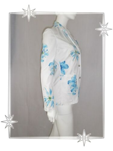 Blue Flowers Kenzo Printed Jeans Blazer Taglia White 38 Jacket A SIqfP