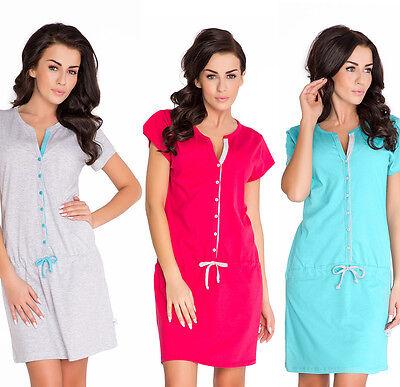 Hell Nursing 100% Cotton Nightdress Nightshirt 8 10 12 14 Breastfeeding Verkaufsrabatt 50-70%