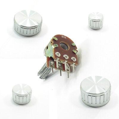 Volume Tone Control Mono Potentiometer Linear B Ohm Lin Gold Aluminium Knob