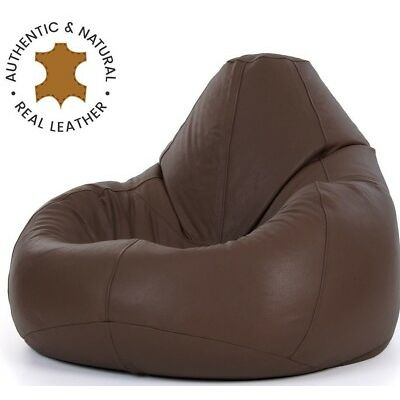 Icon® Luxury Real Leather Bean Bag - XX Large Recliner Chair - Walnut Brown