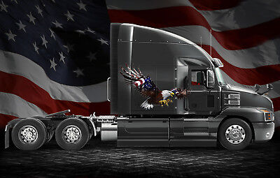 American Eagle Flag Truck Semi Rv Trailer Wall Window