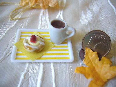 =1 KÄSE-KIRSCH-PLUNDER + 1 POTT KAFFEE= Bäckerei Puppenstube 1:12 / 1:10 by HW