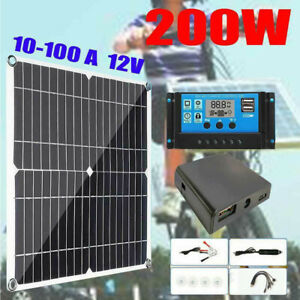 200W Solar Panel Kit 12V battery Charger 10A-100A with Controller Caravan Boat