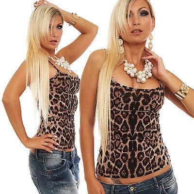 5594 Spaghettiträger Top Leopard Look Gr. 34 36 38 verfügbar 3 Farben