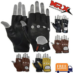 MRX-Mens-Leather-Fingerless-Driving-Motorcycle-Biker-Gloves-Work-Out-Exercise