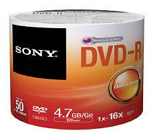 100 Sony DVD-R 16X Silver Logo Branded DVD-R DVDR Blank Media Disc 4.7GB