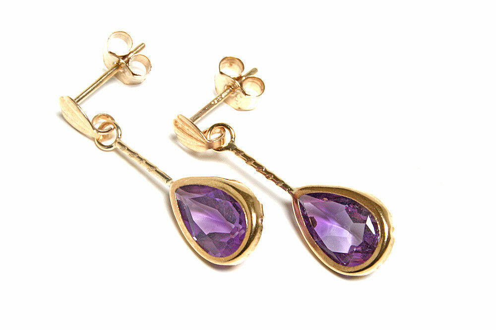 9ct gold Amethyst Teardrop Earrings Gift Boxed Made in UK Birthday Gift