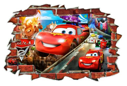 CARS FILM 2 Enfants Chambre à coucher McQueen Mater Voiture de course 3D Mur Breakout Autocollant #043