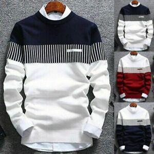 Tops-Men-039-s-Strip-Coat-Casual-Round-Knitwear-Warm-Pullover-Neck-Jumper-Sweater