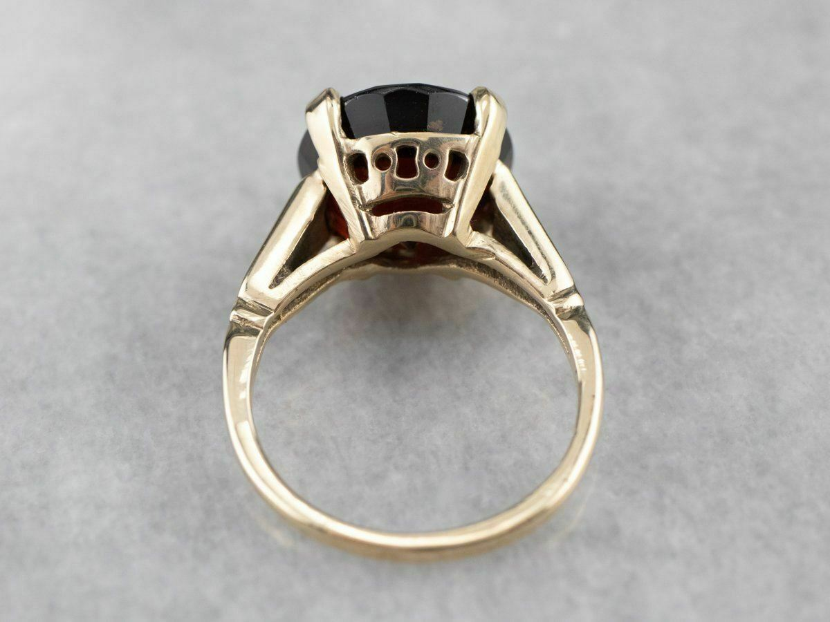 Garnet Gold Solitaire Ring - image 5