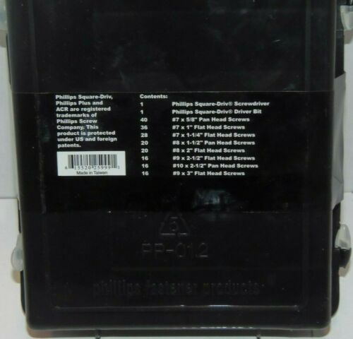Phillips Plus Interior Screws Assorted Kit w//Screw Driver-194 Count Screw Pack
