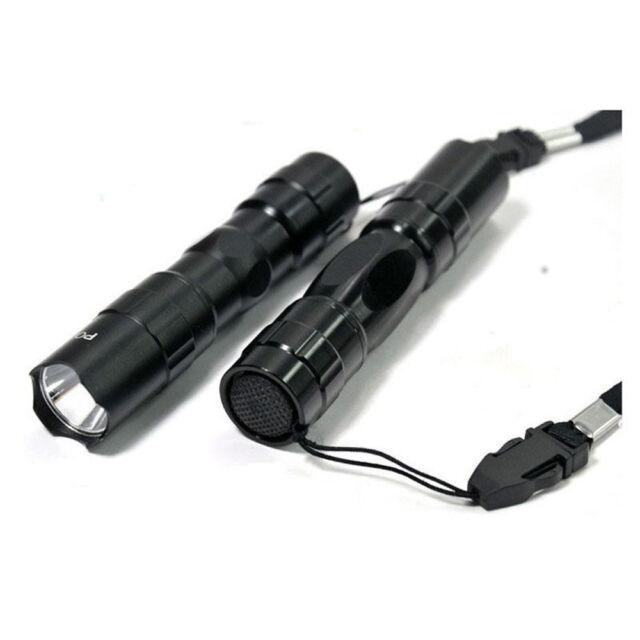 1pcs LED Flashlight Light Lamp Torch Black 3W 1AA  with Lanyard and Box s859