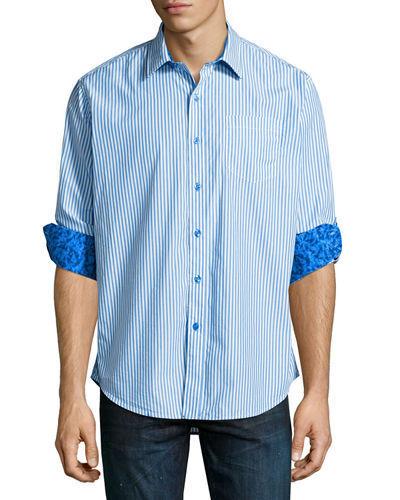 Robert Graham Benedetto Long-Sleeve Striped Sport Shirt , Size XL, MSRP