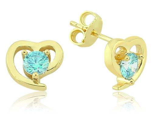 PARGOLD 585 Gold Ohrstecker Herz Ohrringe Blau Zirkonia Solitär Gold 14 Karat