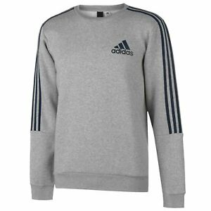 Details zu adidas Mens 3 Stripe Sweatshirt Pullover Casual Long Sleeve Crew Neck Top