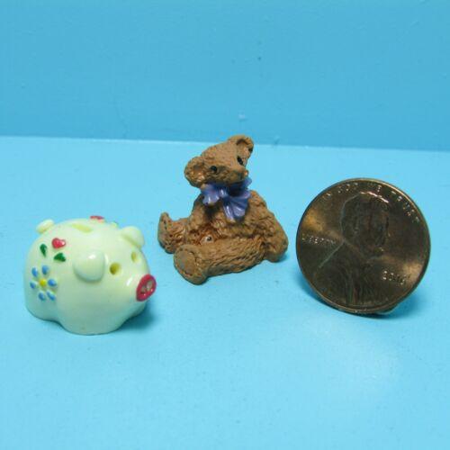 Dollhouse Miniature Nursery Piggy Bank with Teddy Bear Toy ~ B1636