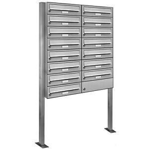15er-Premium-Stand-Briefkasten-Edelstahl-15-Fach-Postkasten-Anlage-freistehend