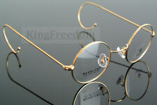 42mm vintage round gold wire rim eyeglass frame spectacles glasses rx able