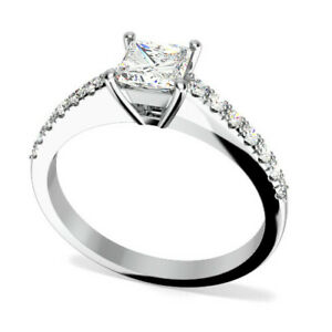0.75 Ct Princess Real Moissanite Engagement Rings 18K Solid White Gold Size 4.5